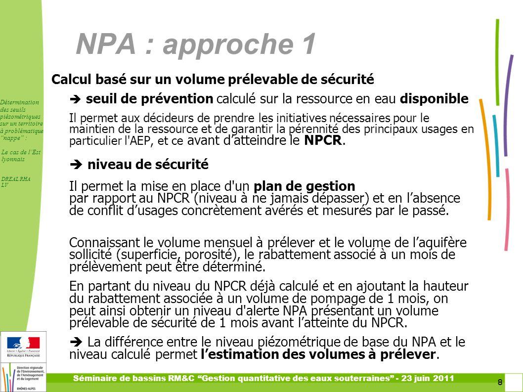 NPA : approche 1 Calcul basé sur un volume prélevable de sécurité