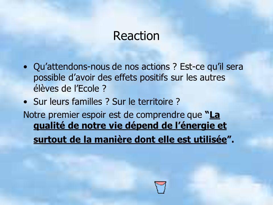 Reaction Qu'attendons-nous de nos actions Est-ce qu'il sera possible d'avoir des effets positifs sur les autres élèves de l'Ecole