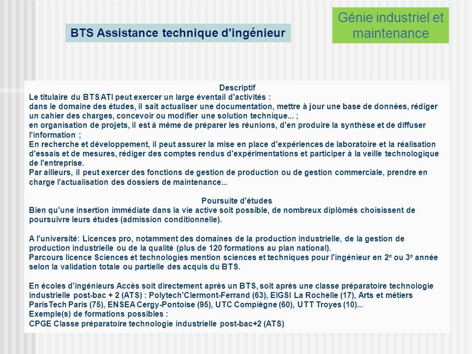 BTS Assistance technique d ingénieur