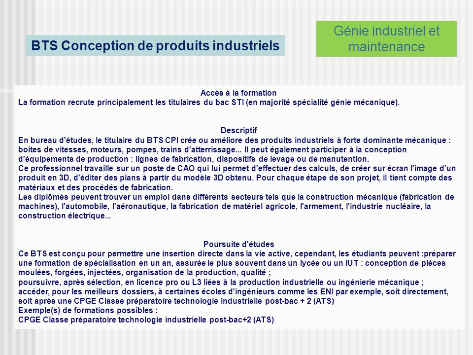 BTS Conception de produits industriels