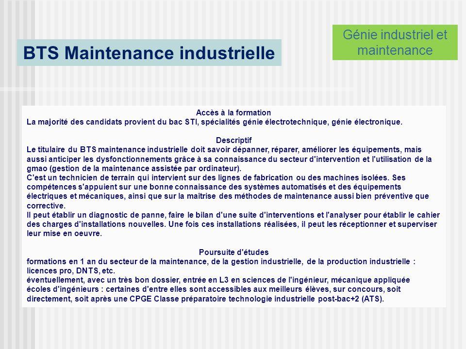 BTS Maintenance industrielle