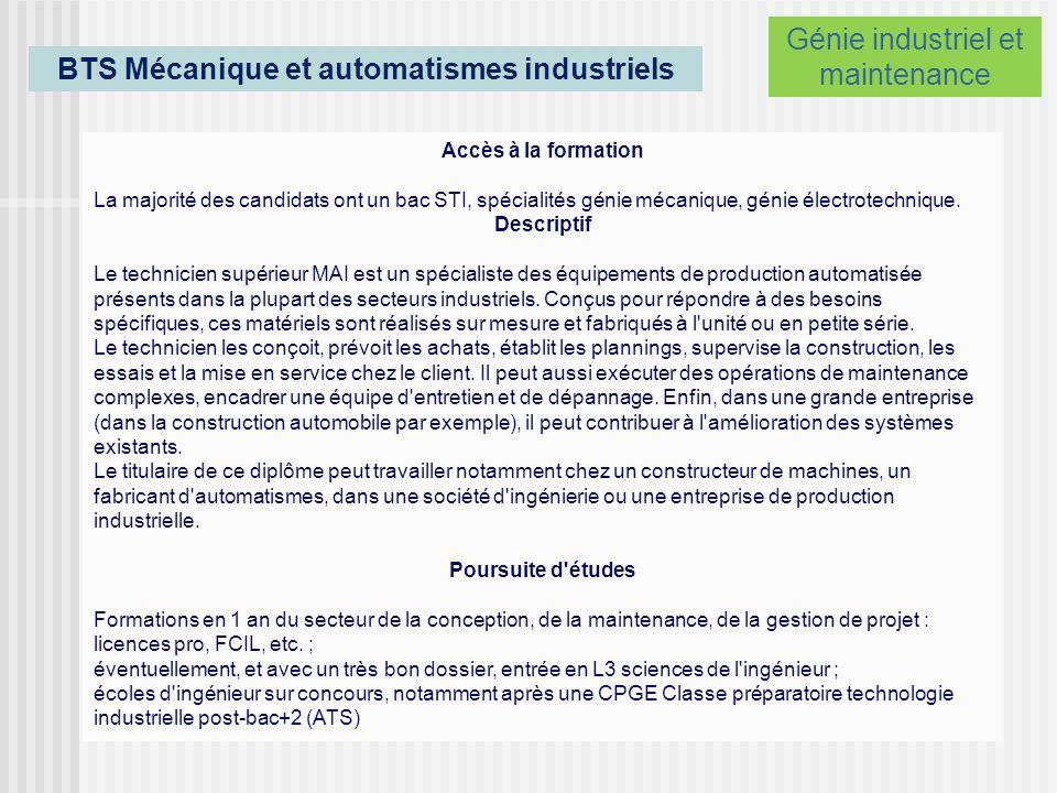 BTS Mécanique et automatismes industriels