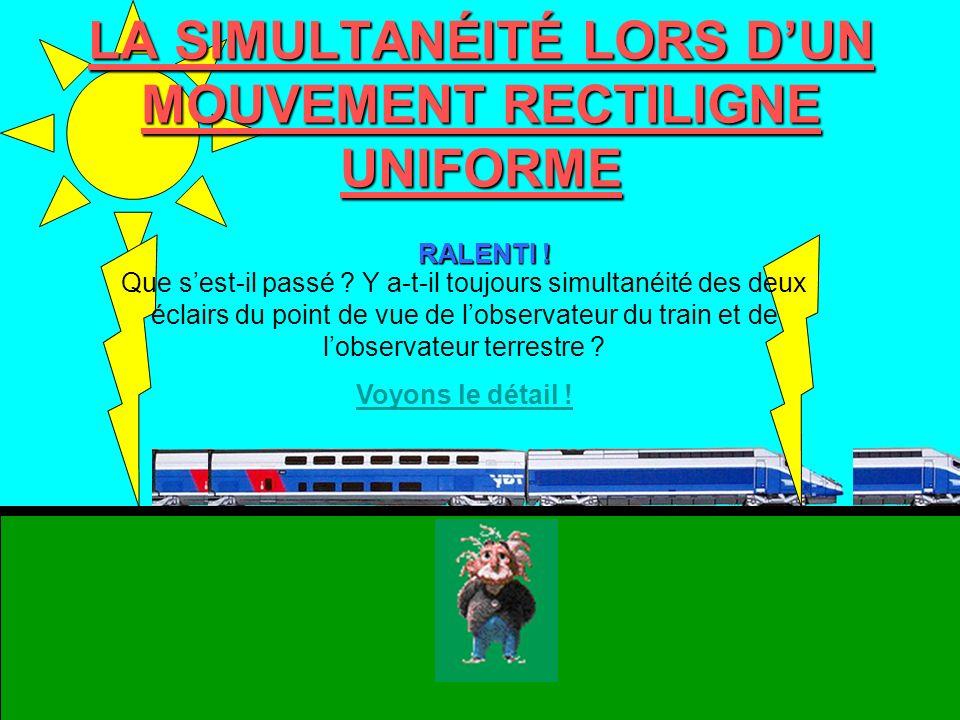 LA SIMULTANÉITÉ LORS D'UN MOUVEMENT RECTILIGNE UNIFORME