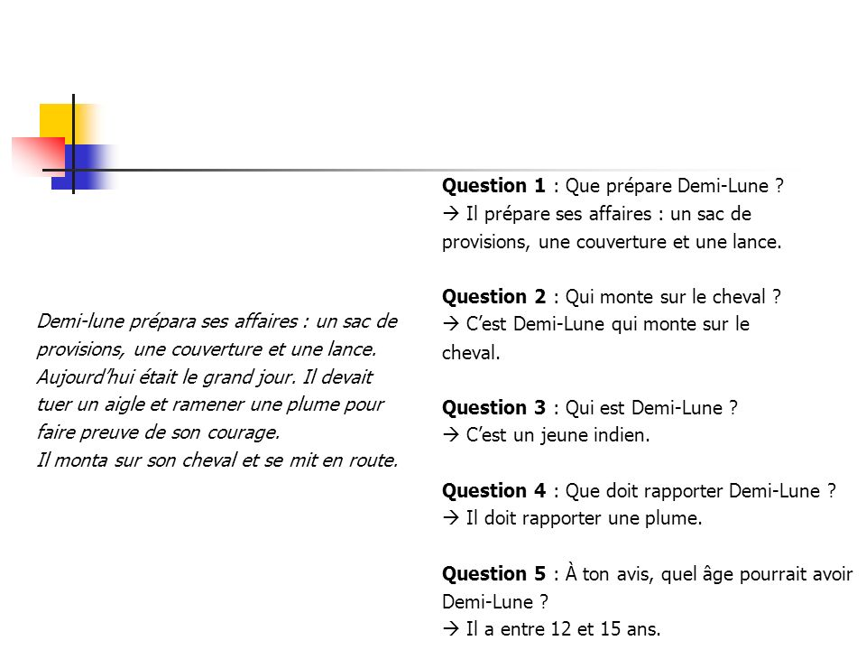 Question 1 : Que prépare Demi-Lune