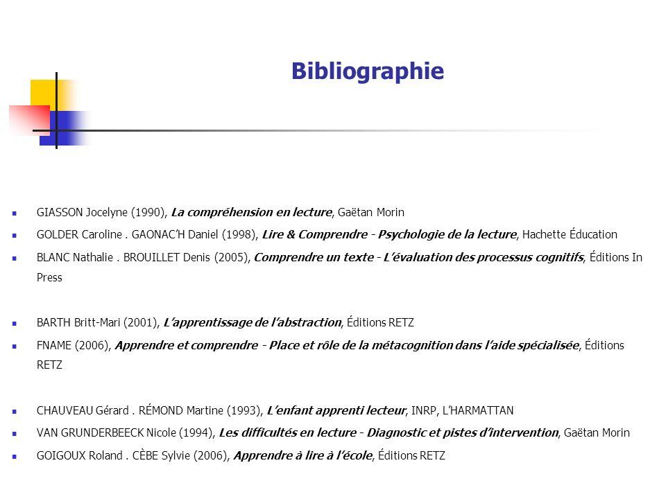 Bibliographie GIASSON Jocelyne (1990), La compréhension en lecture, Gaëtan Morin.