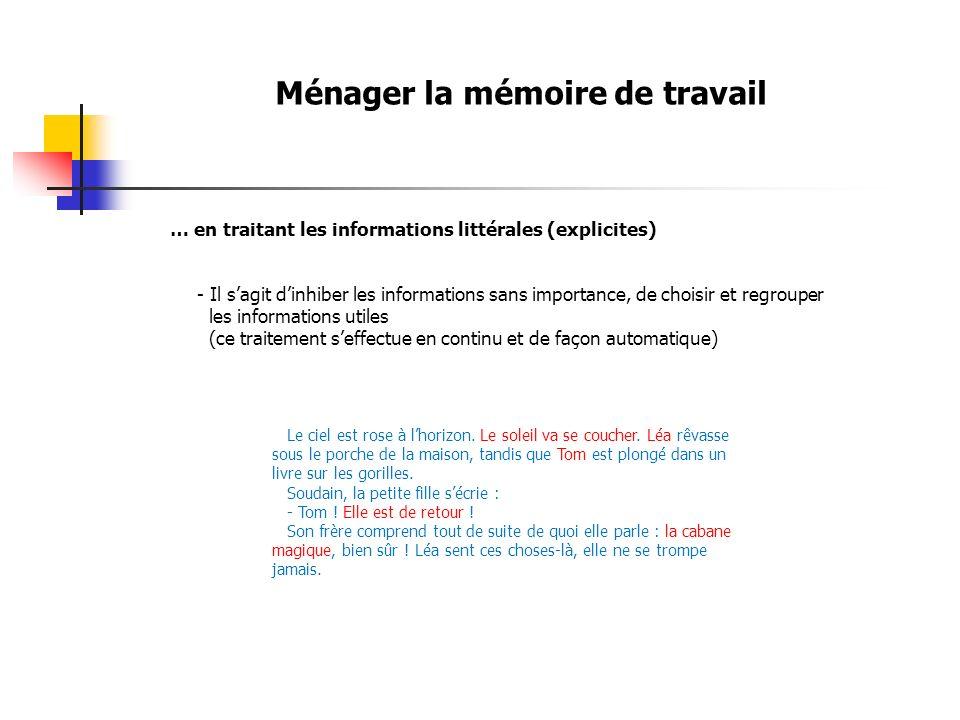 Ménager la mémoire de travail