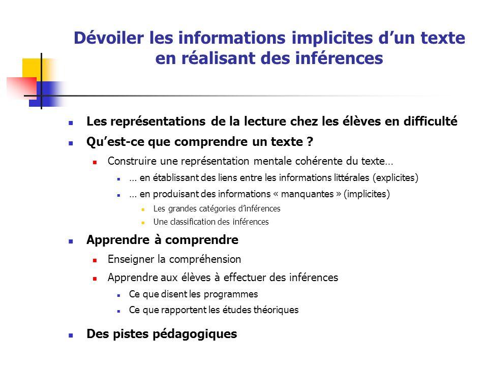 Dévoiler les informations implicites d'un texte en réalisant des inférences