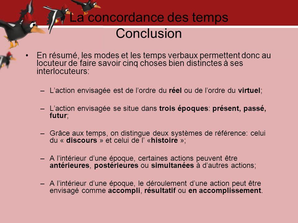 La concordance des temps Conclusion