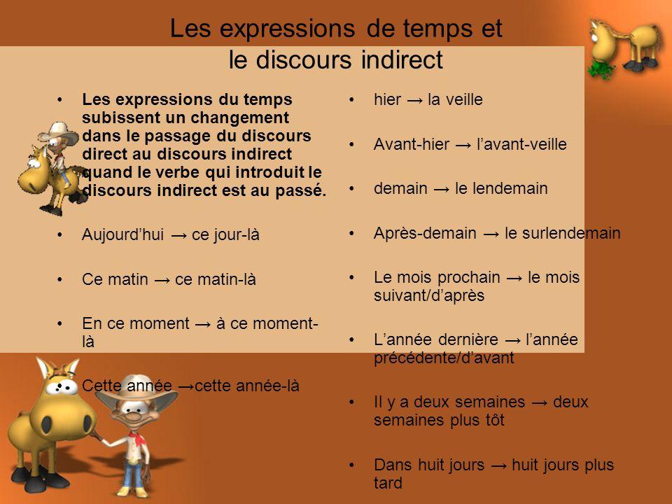 Les expressions de temps et le discours indirect