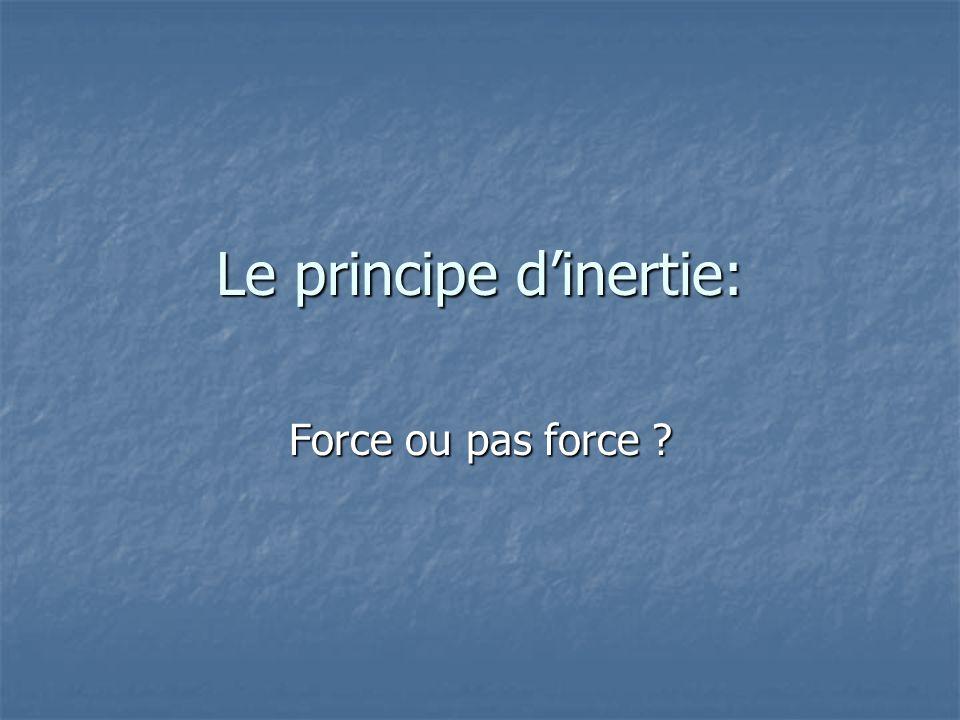 Le principe d'inertie: