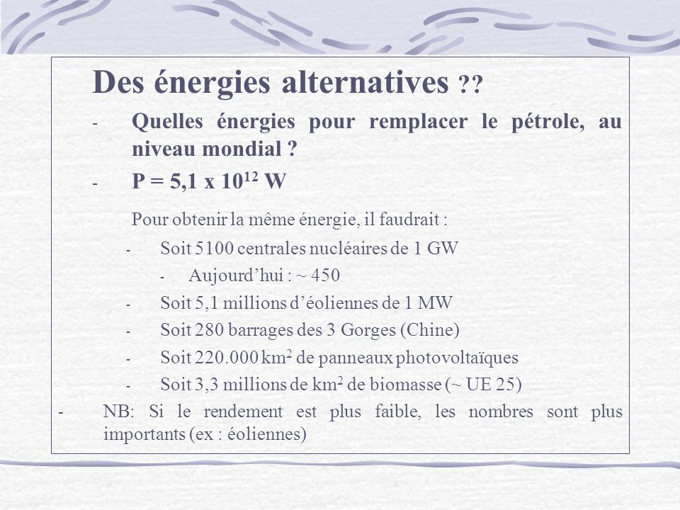 Des énergies alternatives