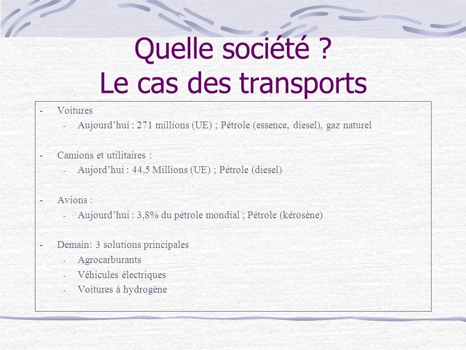 Quelle société Le cas des transports