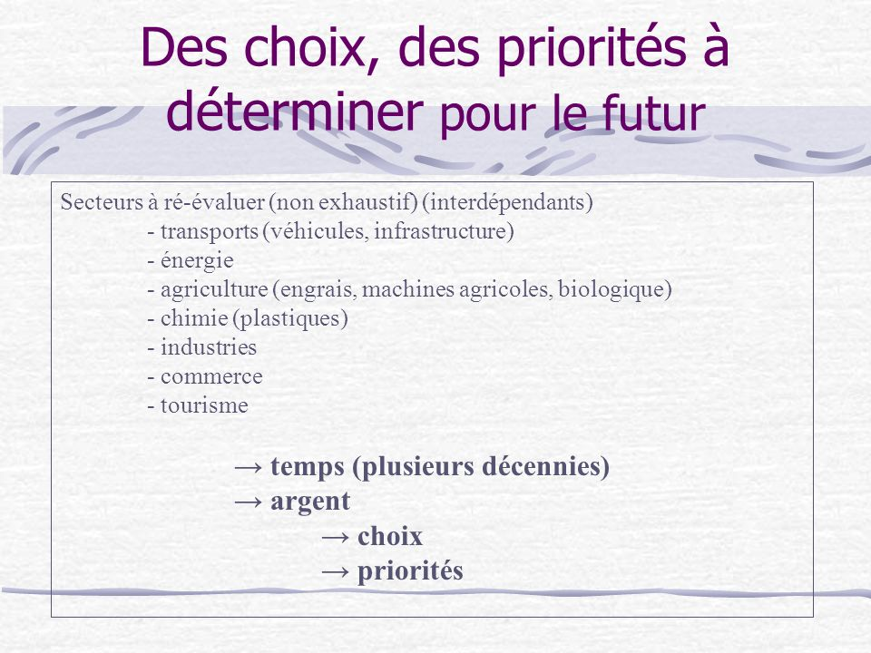 Des choix, des priorités à déterminer pour le futur
