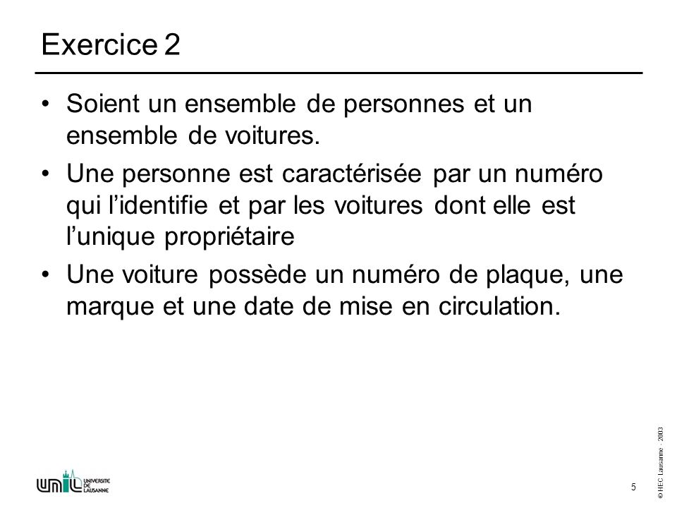 Entité-Association (1) - Exerices - Enoncés