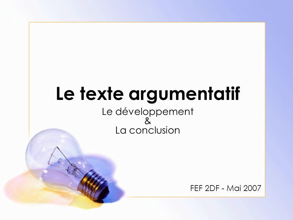 Le développement & La conclusion