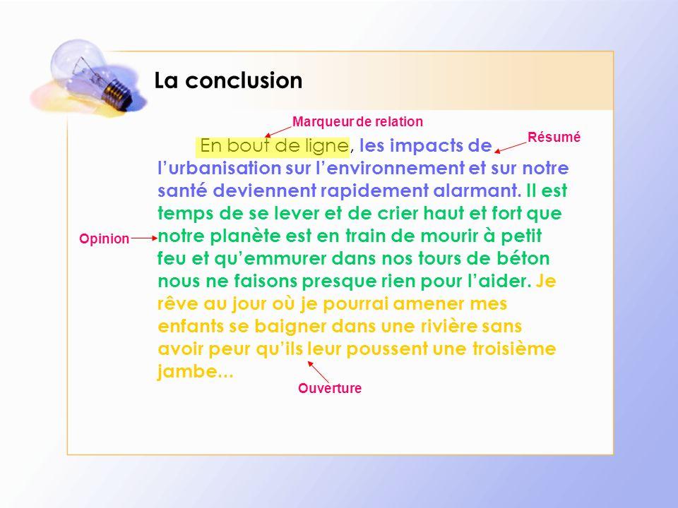 La conclusion Marqueur de relation.