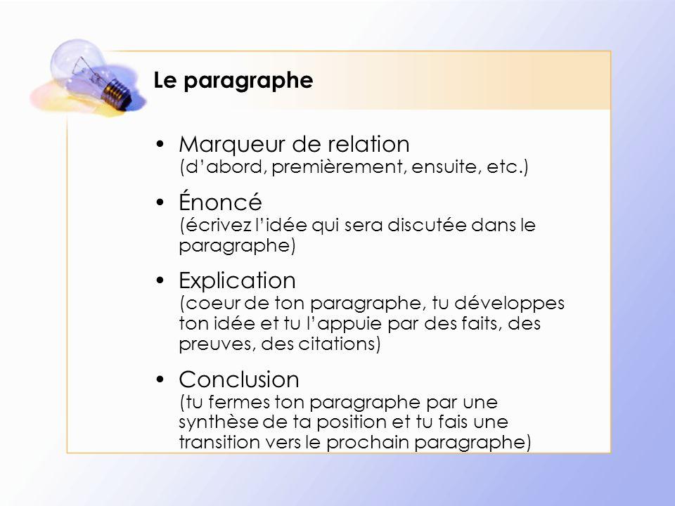 Le paragraphe Marqueur de relation (d'abord, premièrement, ensuite, etc.) Énoncé (écrivez l'idée qui sera discutée dans le paragraphe)