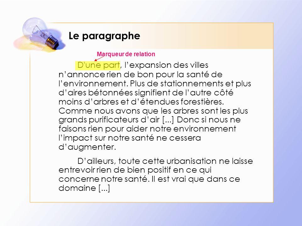 Le paragraphe Marqueur de relation.
