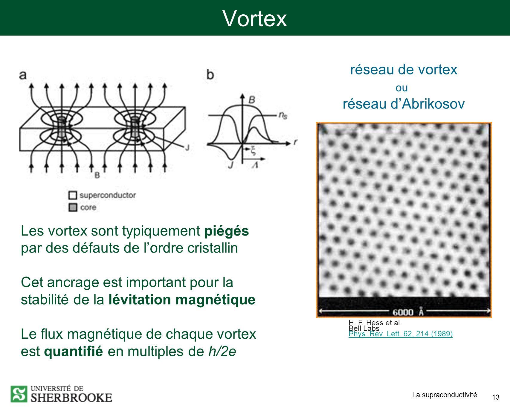 Vortex réseau de vortex réseau d'Abrikosov