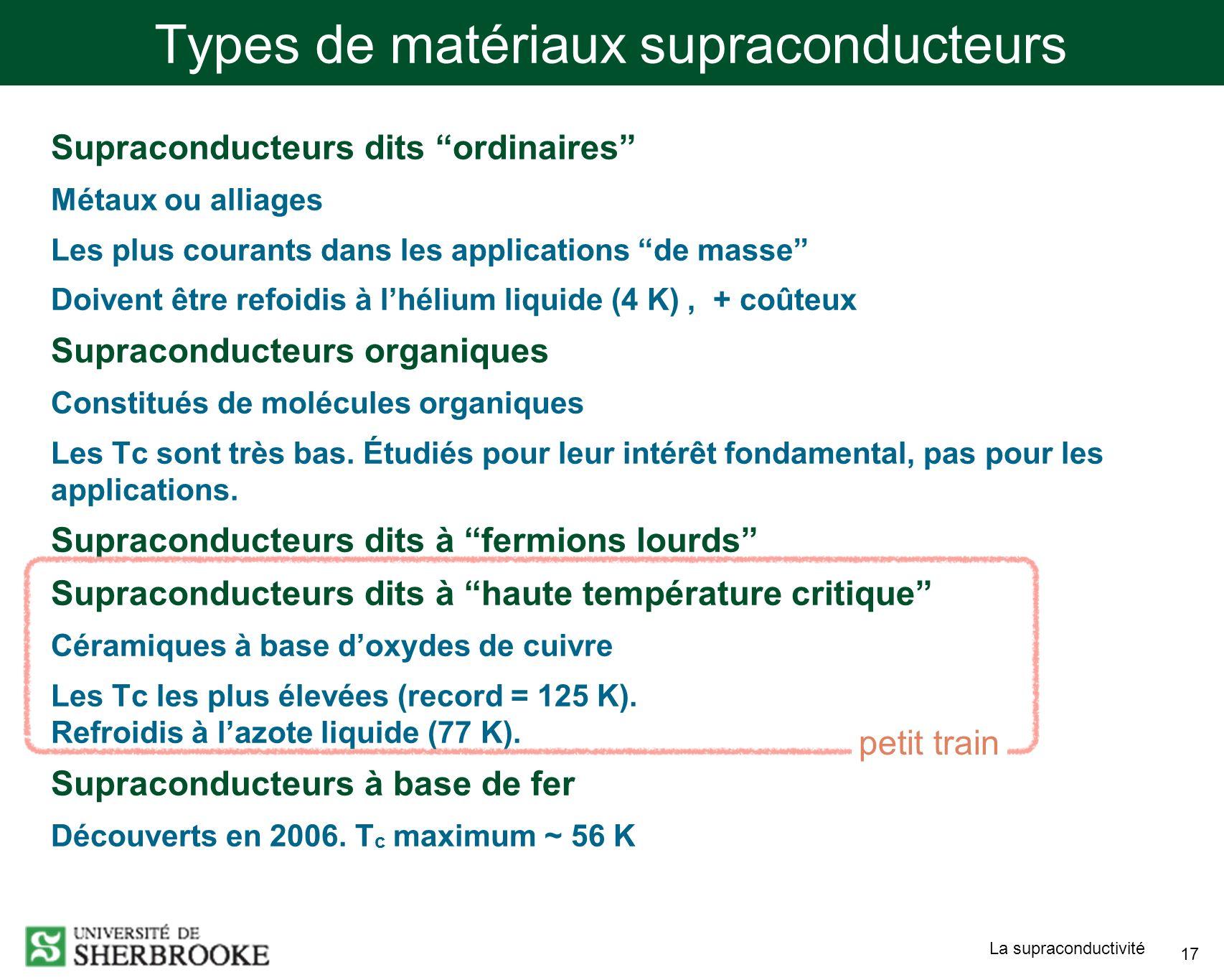 Types de matériaux supraconducteurs