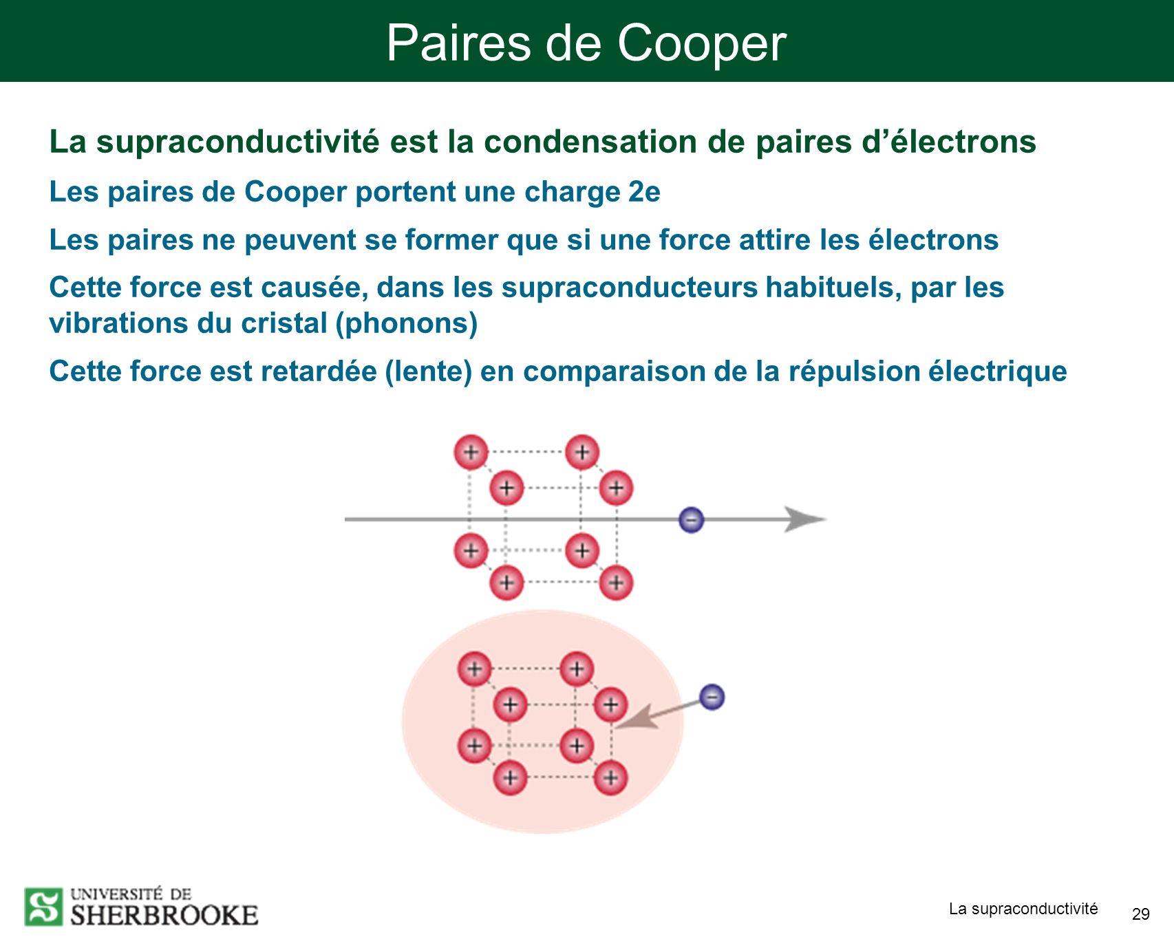 Paires de Cooper La supraconductivité est la condensation de paires d'électrons. Les paires de Cooper portent une charge 2e.