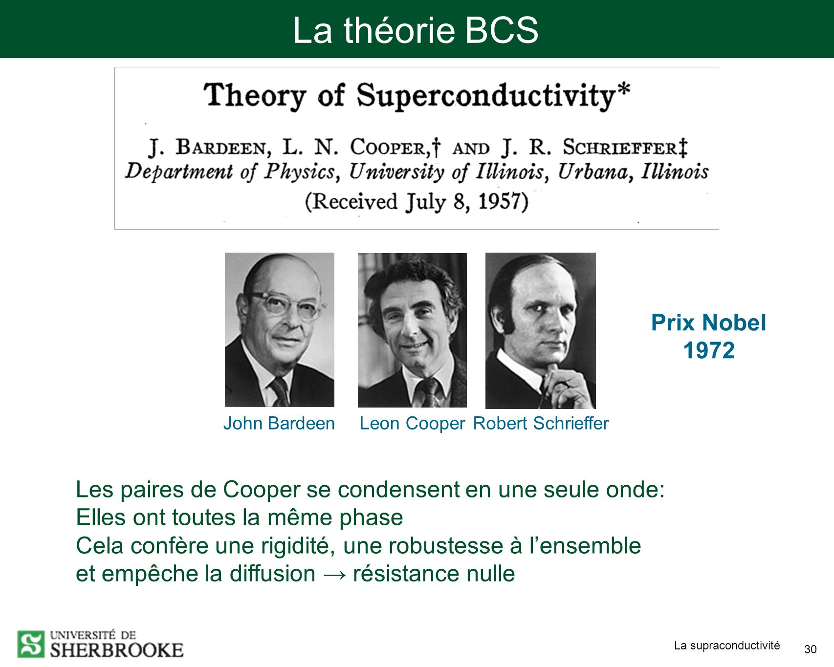 La théorie BCS Prix Nobel 1972