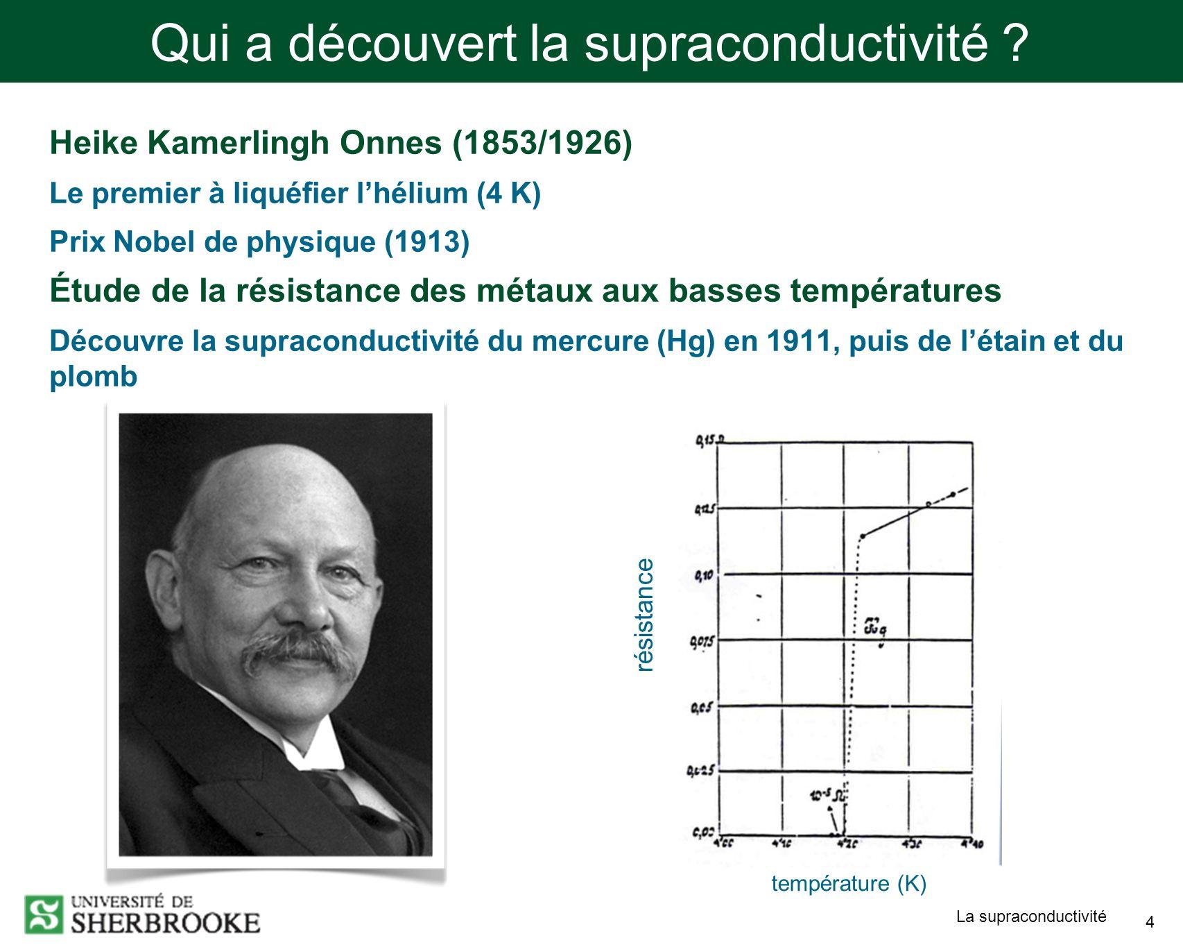Qui a découvert la supraconductivité