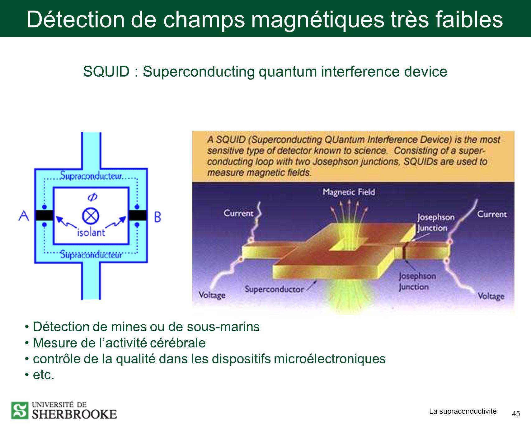 Détection de champs magnétiques très faibles
