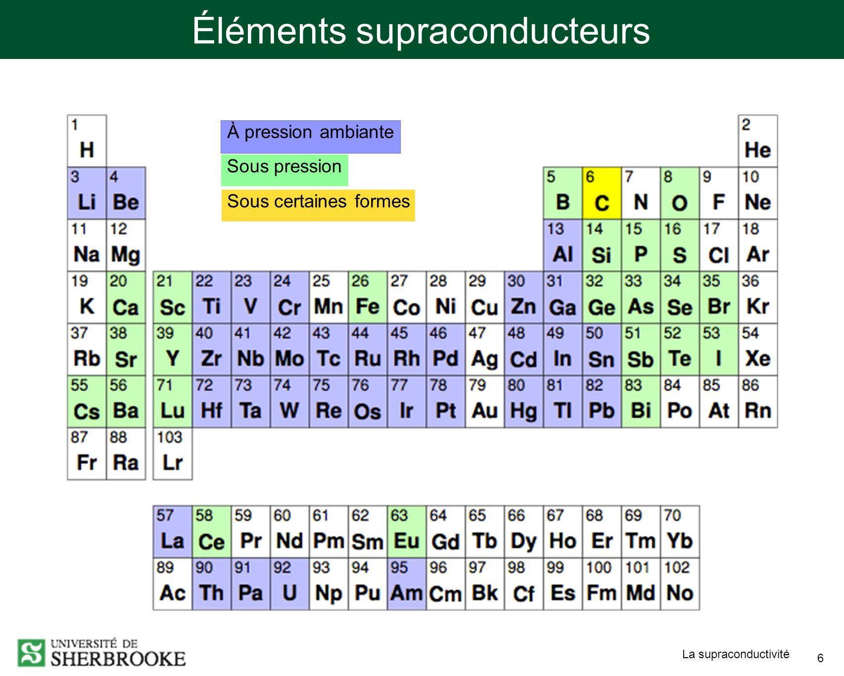 Éléments supraconducteurs