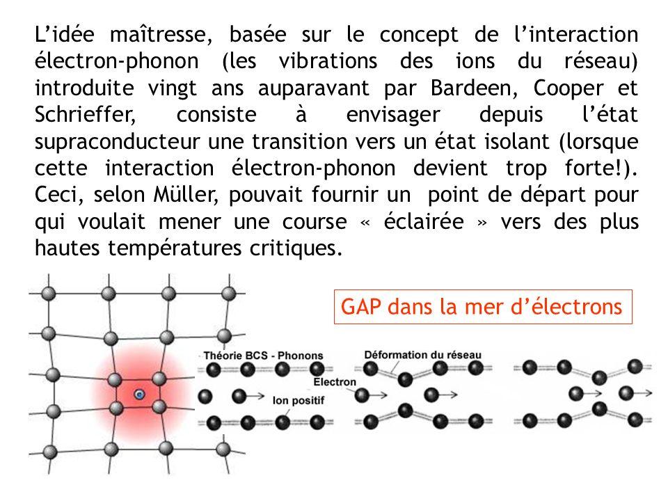 L'idée maîtresse, basée sur le concept de l'interaction électron-phonon (les vibrations des ions du réseau) introduite vingt ans auparavant par Bardeen, Cooper et Schrieffer, consiste à envisager depuis l'état supraconducteur une transition vers un état isolant (lorsque cette interaction électron-phonon devient trop forte!). Ceci, selon Müller, pouvait fournir un point de départ pour qui voulait mener une course « éclairée » vers des plus hautes températures critiques.