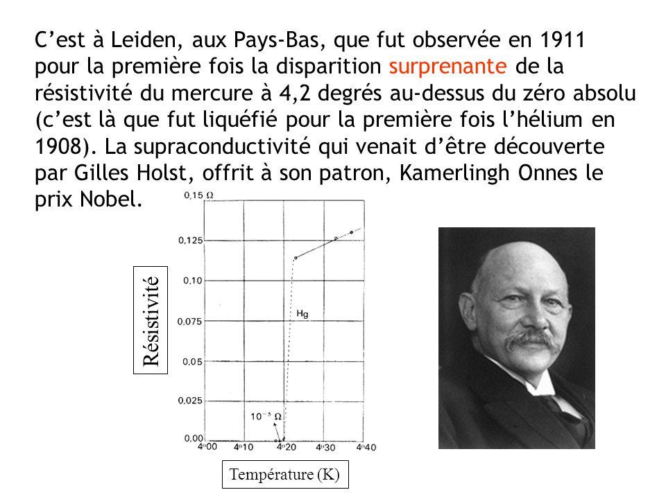 C'est à Leiden, aux Pays-Bas, que fut observée en 1911 pour la première fois la disparition surprenante de la résistivité du mercure à 4,2 degrés au-dessus du zéro absolu (c'est là que fut liquéfié pour la première fois l'hélium en 1908). La supraconductivité qui venait d'être découverte par Gilles Holst, offrit à son patron, Kamerlingh Onnes le prix Nobel.