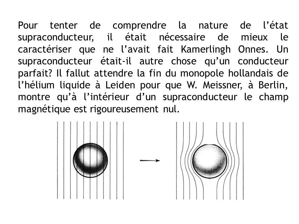 Pour tenter de comprendre la nature de l'état supraconducteur, il était nécessaire de mieux le caractériser que ne l'avait fait Kamerlingh Onnes.