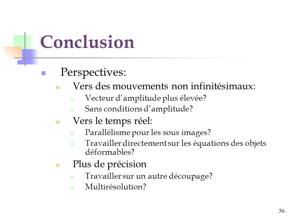 Conclusion Perspectives: Vers des mouvements non infinitésimaux: