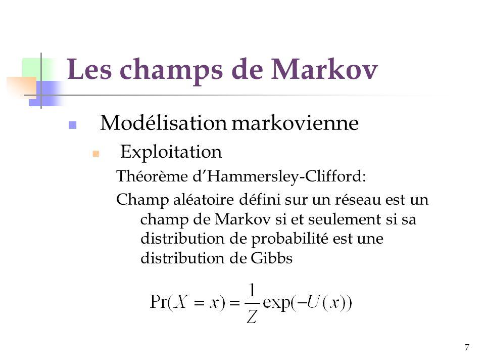 Les champs de Markov Modélisation markovienne Exploitation