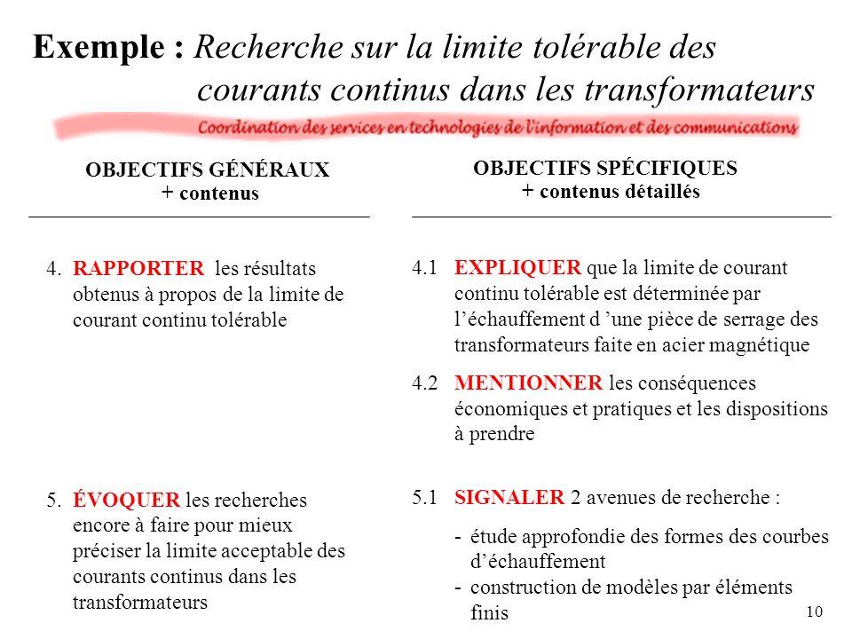 Exemple : Recherche sur la limite tolérable des courants continus dans les transformateurs