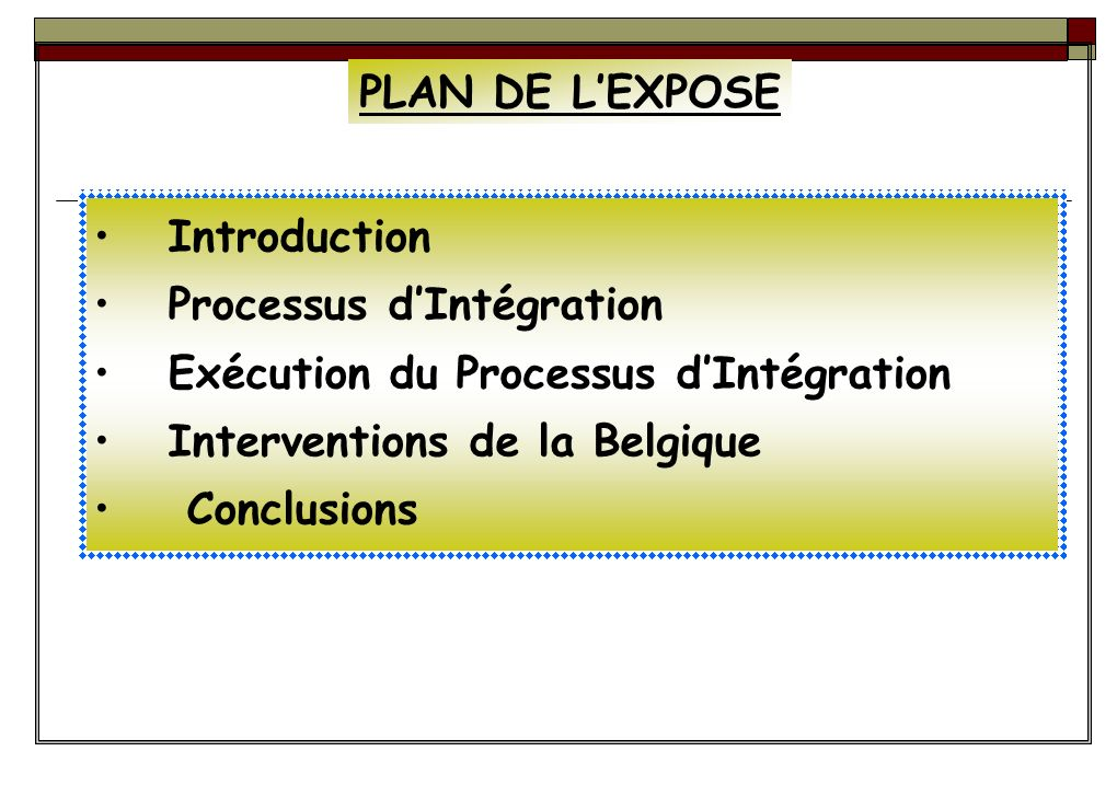 PLAN DE L'EXPOSE Introduction. Processus d'Intégration. Exécution du Processus d'Intégration. Interventions de la Belgique.