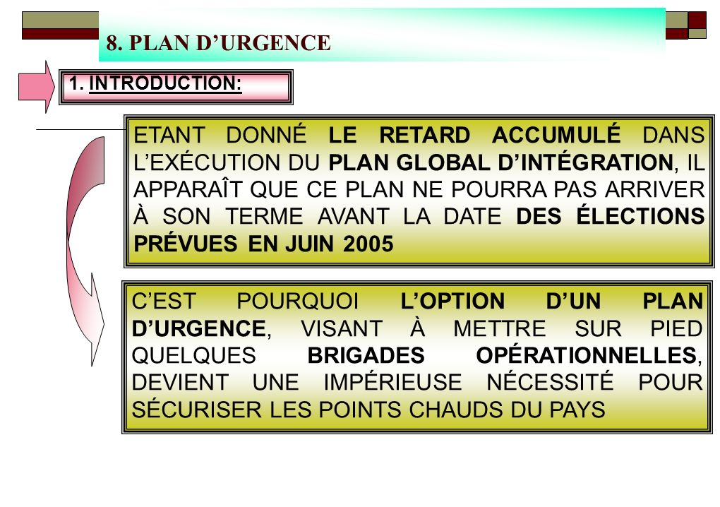 8. PLAN D'URGENCE 1. INTRODUCTION: