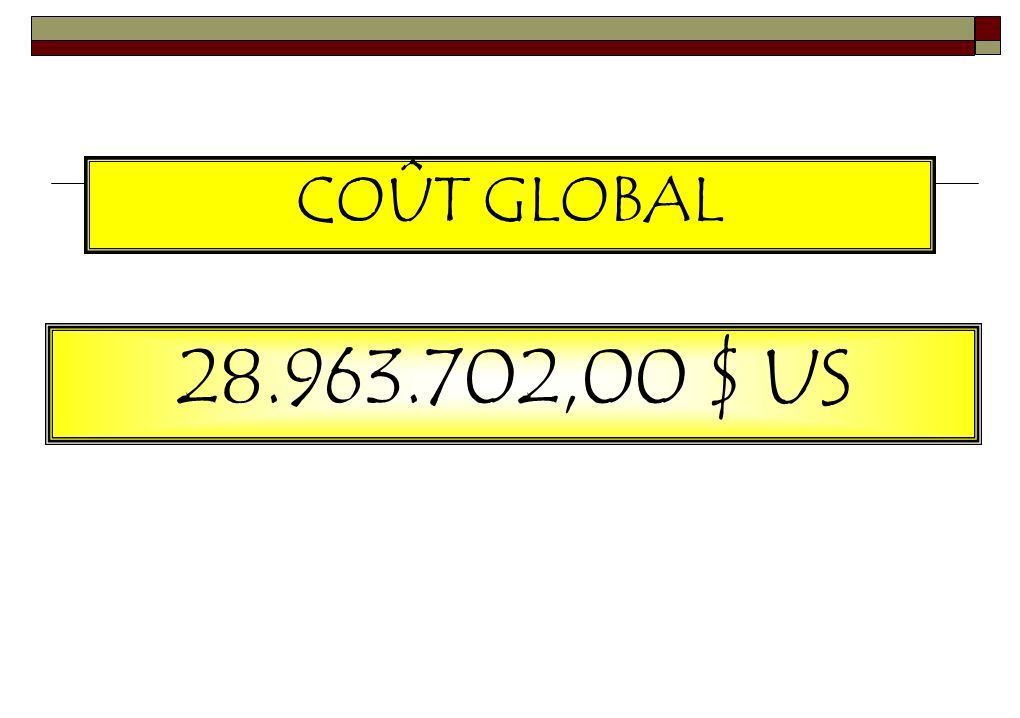 COÛT GLOBAL 28.963.702,00 $ US