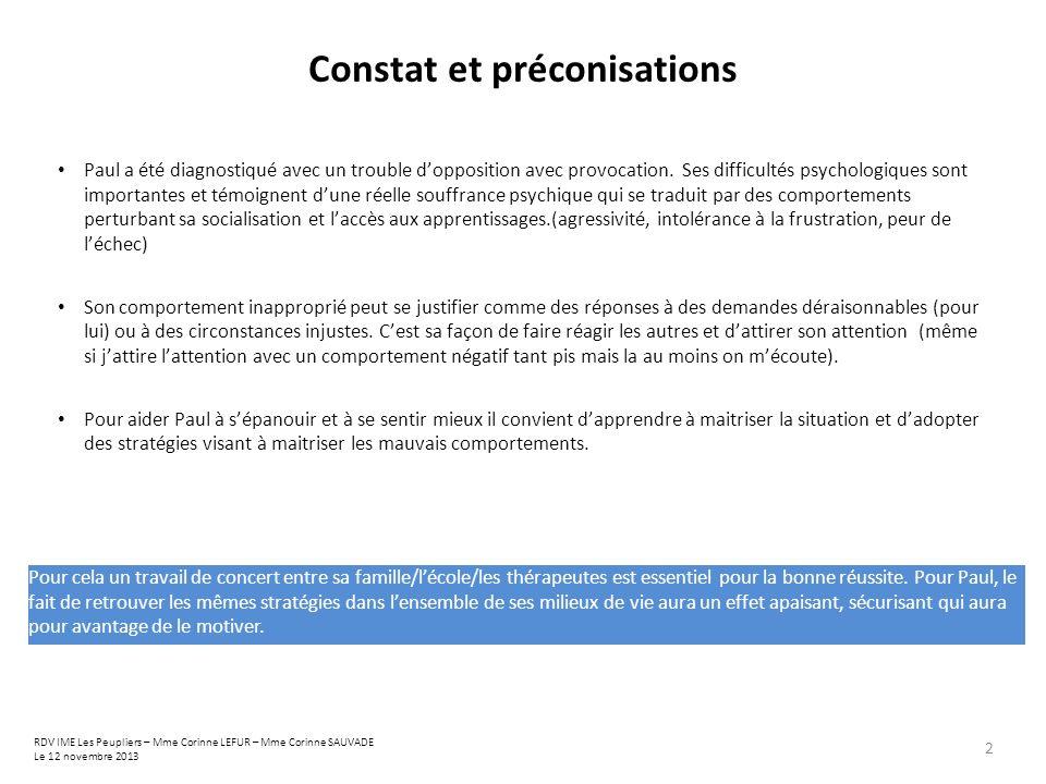 Constat et préconisations
