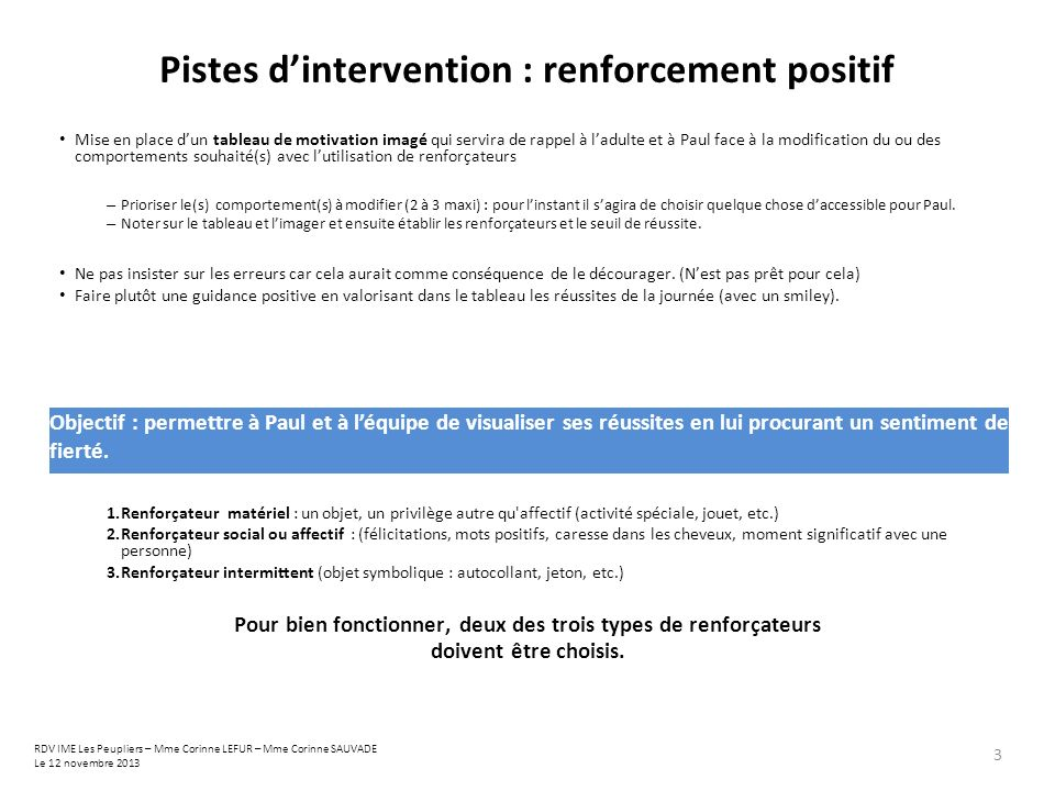 Pistes d'intervention : renforcement positif