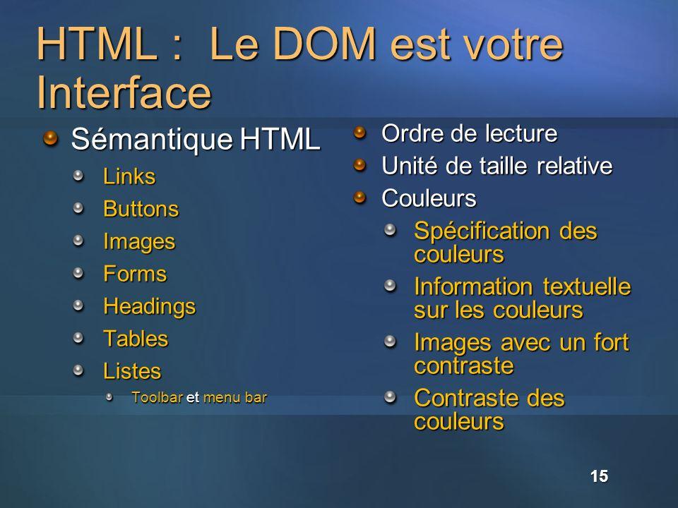HTML : Le DOM est votre Interface