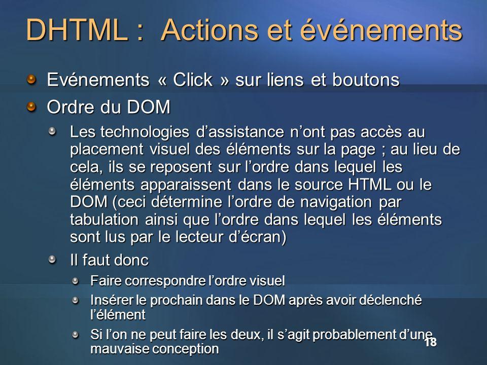 DHTML : Actions et événements