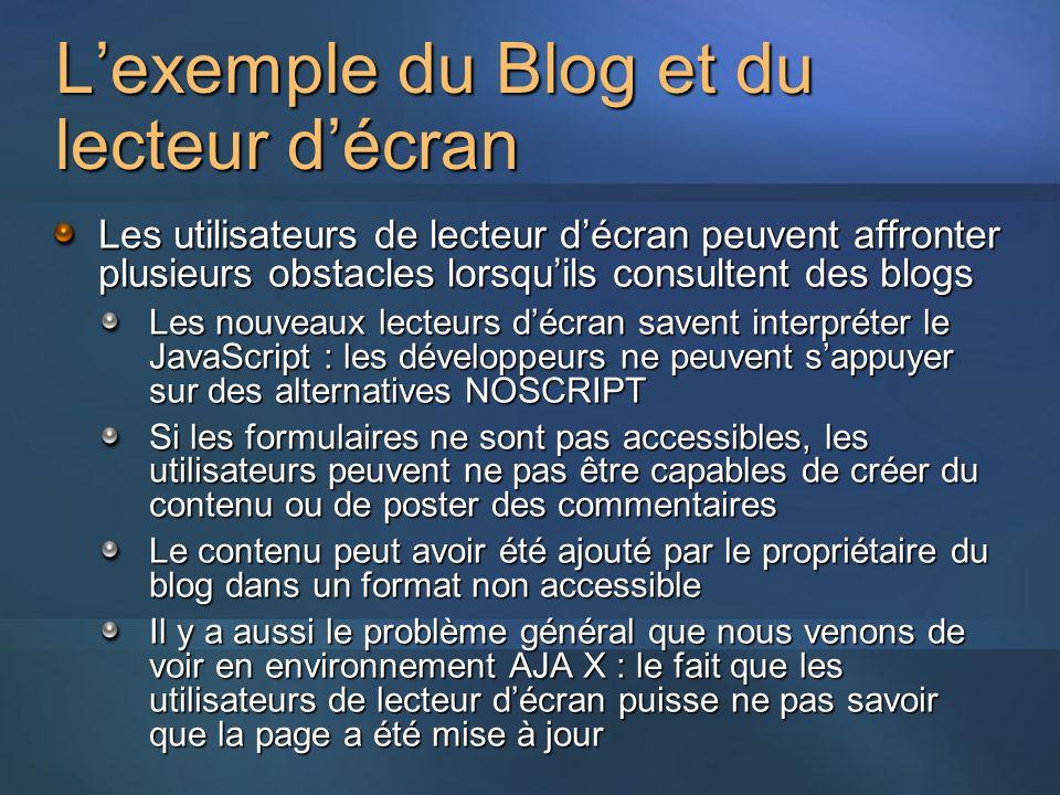L'exemple du Blog et du lecteur d'écran