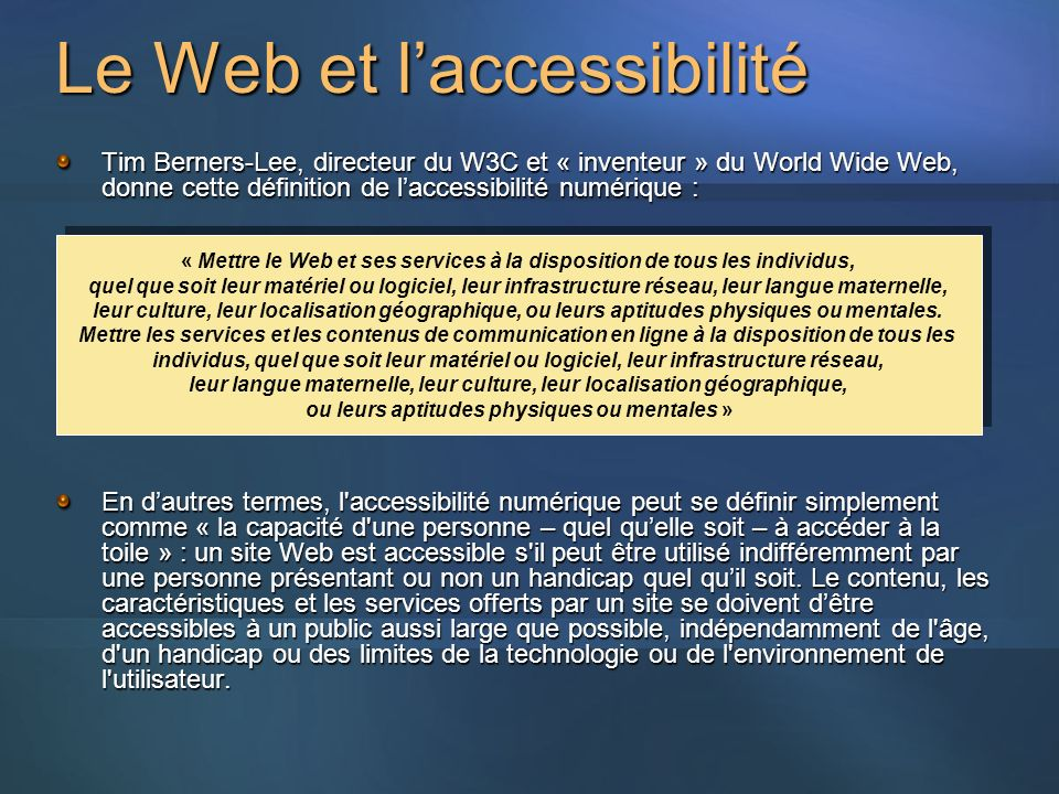 Le Web et l'accessibilité