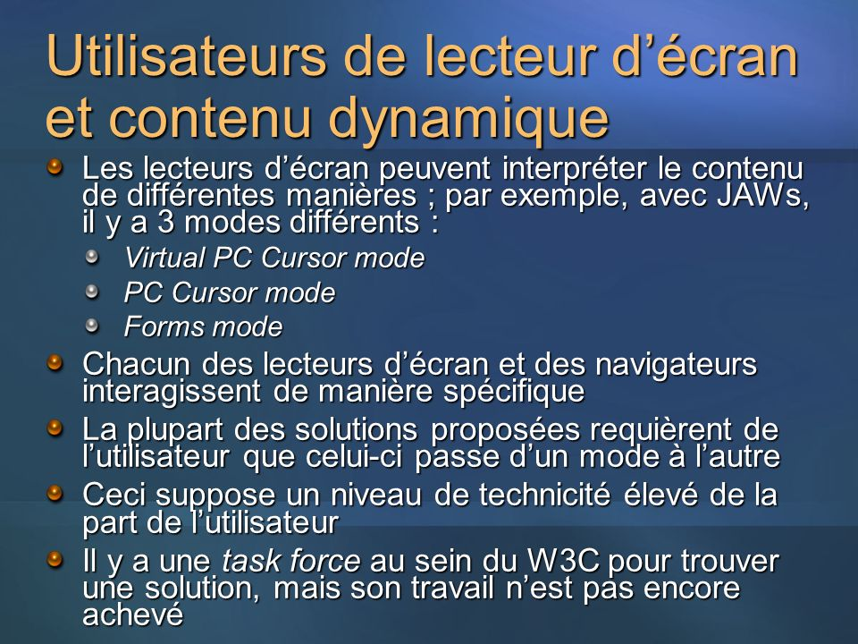 Utilisateurs de lecteur d'écran et contenu dynamique