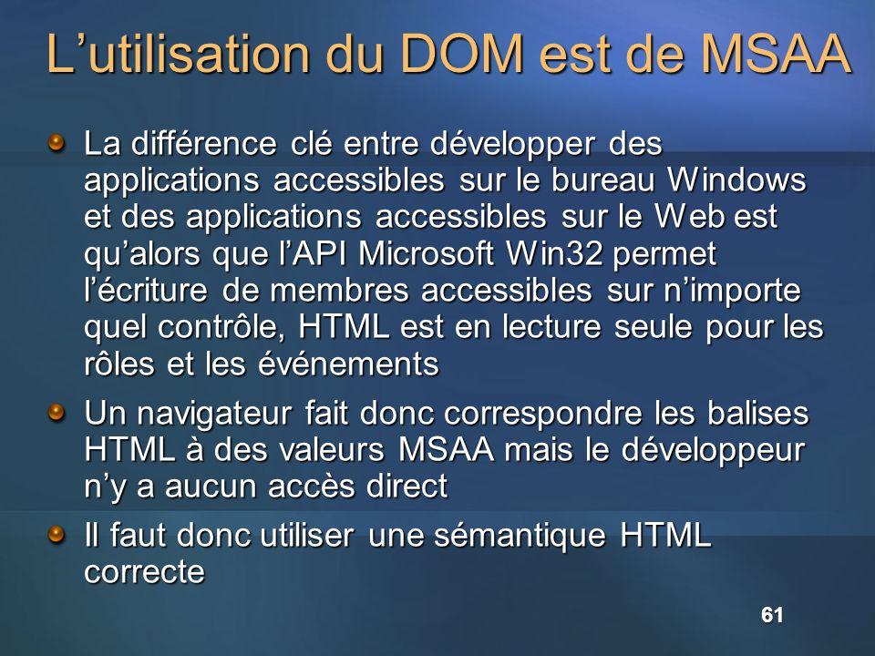 L'utilisation du DOM est de MSAA