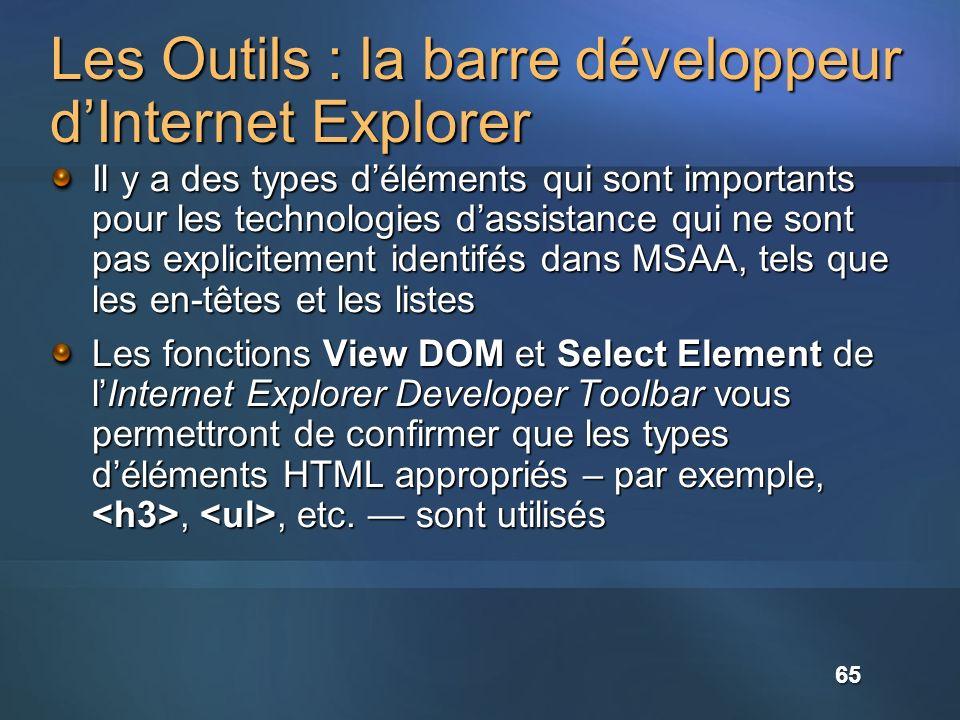 Les Outils : la barre développeur d'Internet Explorer