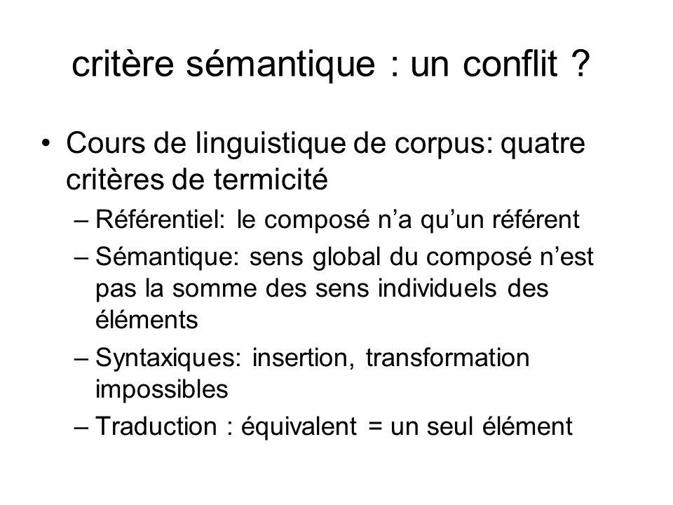 critère sémantique : un conflit
