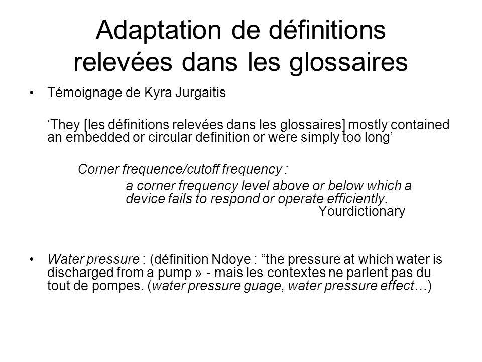 Adaptation de définitions relevées dans les glossaires