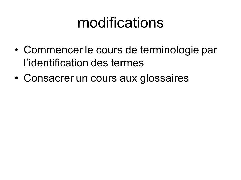 modifications Commencer le cours de terminologie par l'identification des termes.